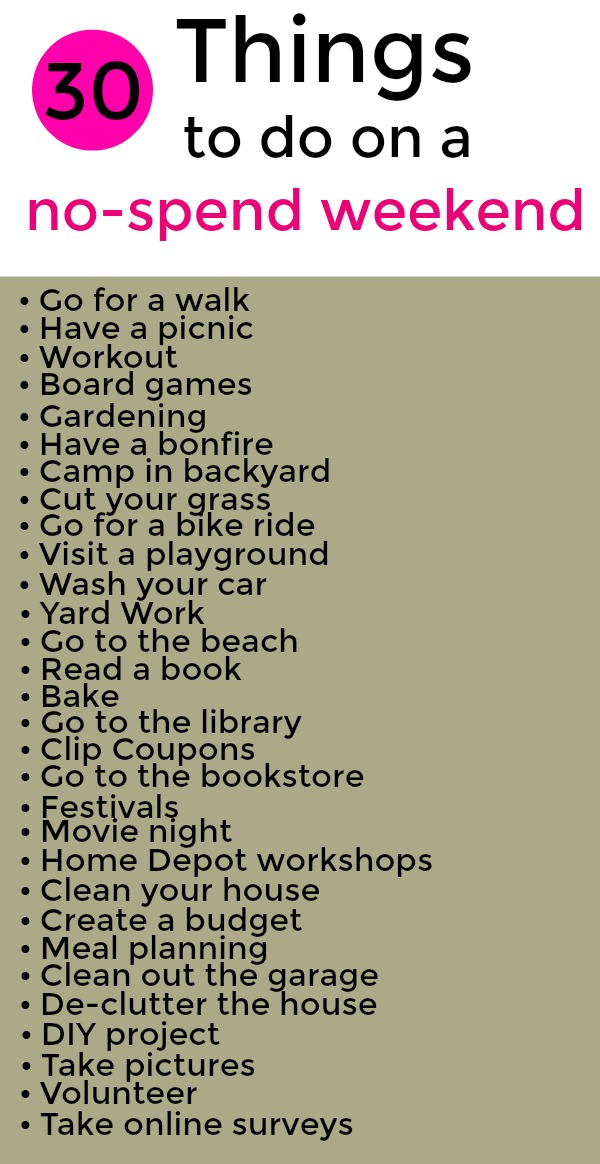 Are you looking to save money this weekend? I love this!! Try out these awesome tips for a no-spend weekend.