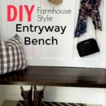 Are you looking for an easy DIY Entryway bench? I love how this turned out!! Come check out this DIY Farmhouse Style Entryway bench.