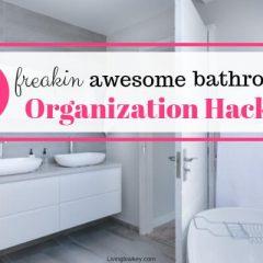 In a bathroom checking out their bathroom organization ideas.