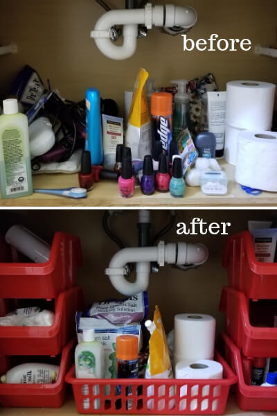 Before and after pictures of bathroom organization under sink.