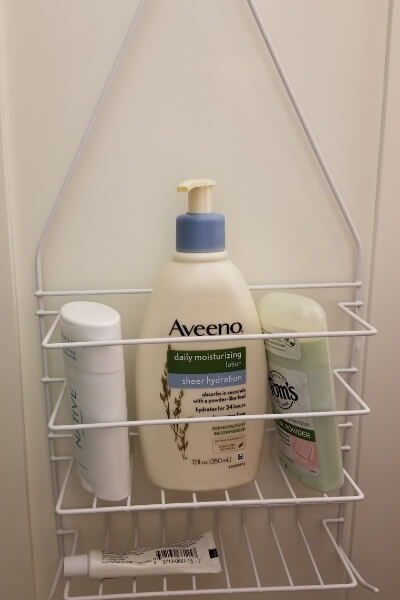 Add mores space to any room with this neat storage rack idea. Add this storage rack to the inside of your bathroom closet for more space.