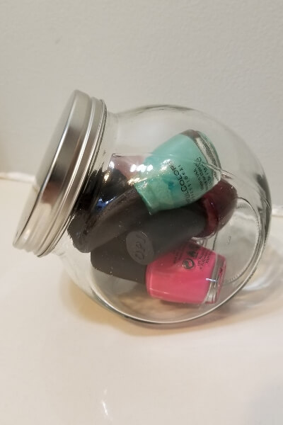 Bathroom cabinet organization ideas for your fingernail polish.