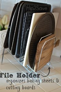 Organize your cookie sheets and other kitchen essentials in a file holder.
