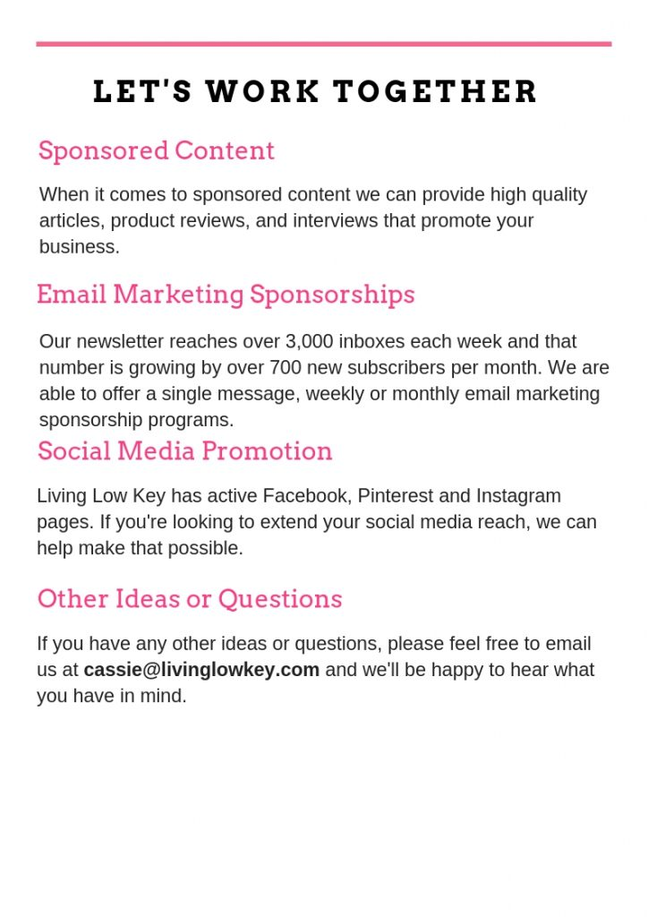 Advertise your business with Living Low Key