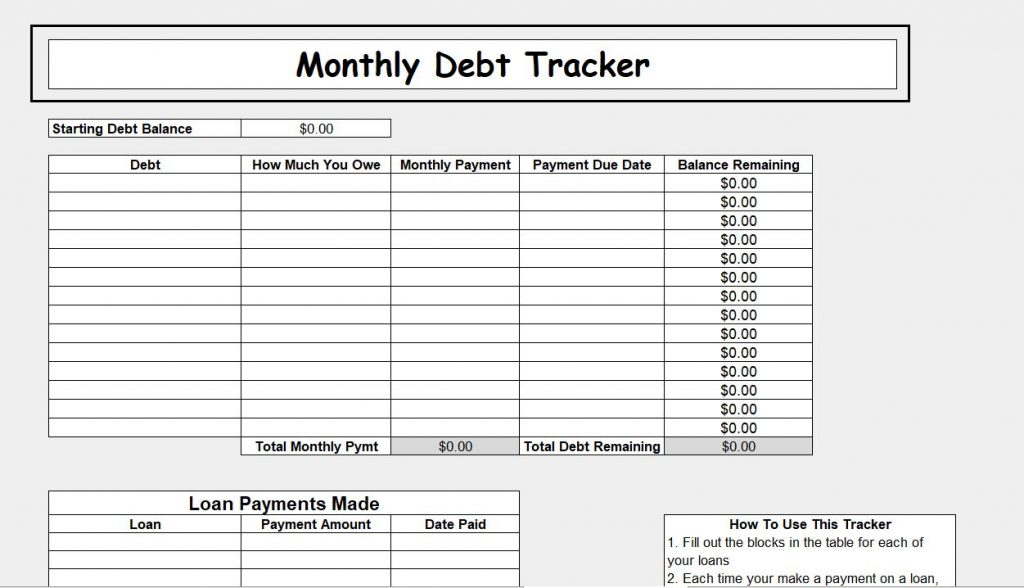 Debt Tracker for Customizable Budget Spreadsheets